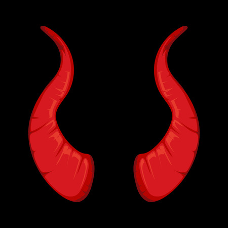 vector illustration of red Devil horns isolate on black background. Picture for halloween party