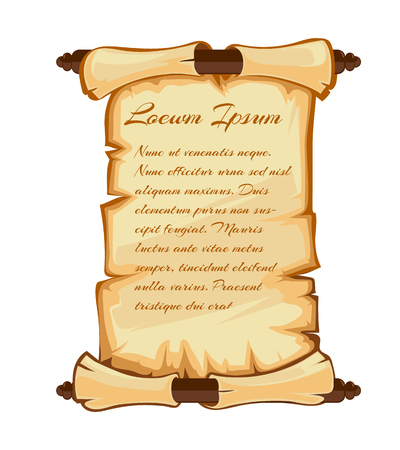 Vector illustrations set of medieval retro Yellowish Blank Scrolls isolate on white background. Place for your text
