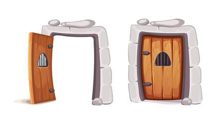vector Illustratie van de middeleeuwse deur uit een gevangenis cel. houtmateriaal. Beeld voor 2D game design. Isoleren op een witte achtergrond Vector Illustratie
