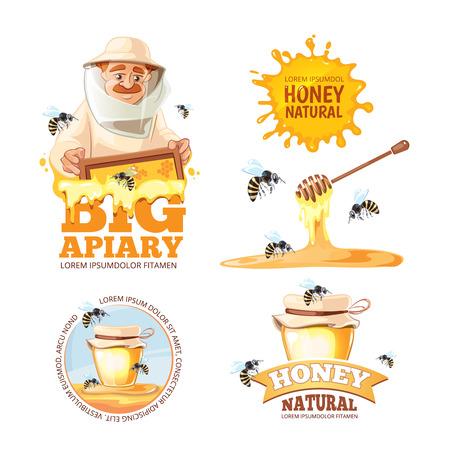 advertize: vector illustration set of Apiary symbols. Bee, honey, bee house, honeycomb. Emblem of Man beekeeer in costume. beehive, wax. Illustration