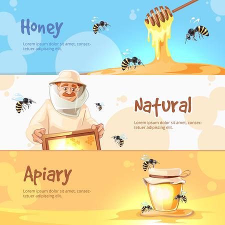 advertize: vector horisontal banners set of Apiary symbols. Bee, honey, bee house, honeycomb. Emblem of Man beekeeer in costume. beehive, wax. Illustration