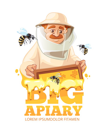 bee house: Bee, honey, bee house, honeycomb. Emblem of Man beekeeer in costume. beehive, wax. isolate on white background Illustration