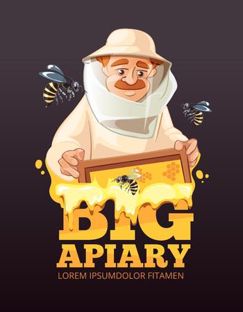 advertize: Bee, honey, bee house, honeycomb. Emblem of Man beekeeer in costume. beehive, wax. isolate on dark background Illustration