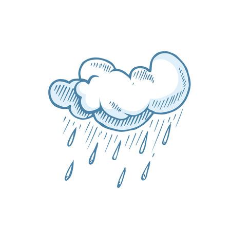 cumulonimbus: vector Doodle of Hand Drawn cumulonimbus Clouds. Illustration of rain isolate on white background.