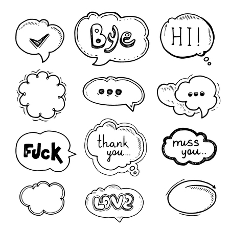 vector Hand drawn set of speech bubbles with dialog words Hello, Love, Bye, Hi, Thank you, Miss you