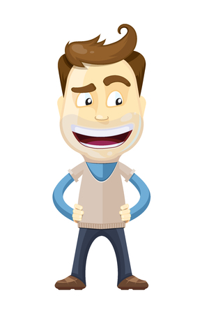 vector illustration of businessman in casual style with surprise emotions on his face. Man Isolate on white background.