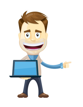 vector illustration of businessman in casual style hold laptop and pointing to the left direction. Presentation pose. manager. Isolate on white background