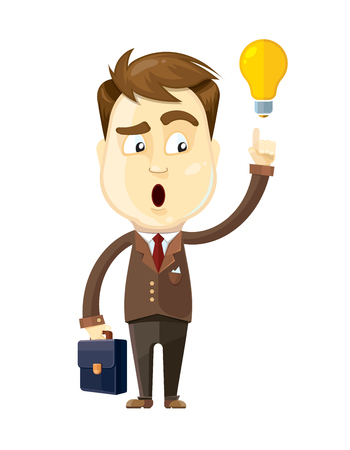 callout: vector illustration of businessman with idea callout hold diplmat in his hand. Isolate on white background Illustration