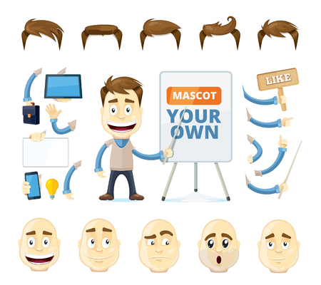 creation kit: vector businessman creation kit. Cartoon business generator. Manager in different poses, emotions, and accessories. Isolate on white background Illustration