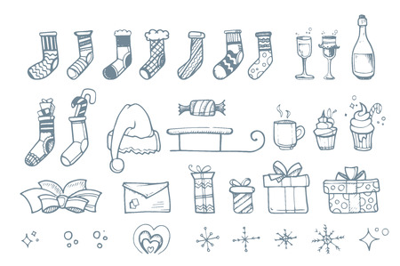 ellements: Vector illustration set of hand drown ellements for Christmas and New Year winter Holidays. Icon doodles set