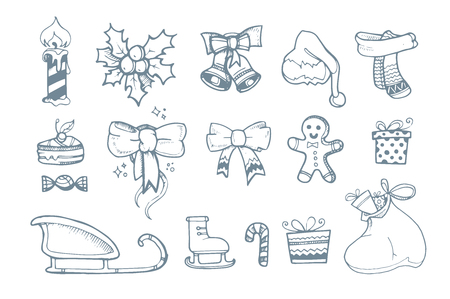 ellements: Vector illustration set of hand drown ellements for Christmas and New Year winter Holidays.