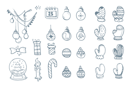 hand drown: Vector illustration set of hand drown ellements for Christmas and New Year winter Holidays. Icon doodles set isolate on white background