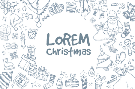 ellements: Vector background of hand drown ellements for Christmas and New Year winter Holidays. Icon doodles set with place for your text. Illustration