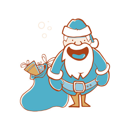 Illustration of Santa Claus with full sack of gifts. Picture isolate on white background Illustration