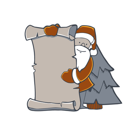 Illustration of Santa pointng to the blank banner. Picture isolate on white background