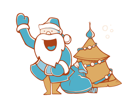 Illustration of Santa Claus with full sack of gifts. Santa near the fir-tree. Picture isolate on white background