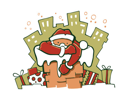 Illustration of Santa gets out of the pipe. Picture isolate on white background Illustration
