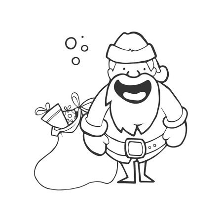 Illustration of Santa Claus with full sack of gifts. hand drawn Picture isolate on white background