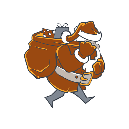 Illustration of Santa Claus carrying sack with full of gifts. Picture isolate on white background Illustration