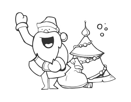 Illustration of Santa Claus with full sack of gifts. Santa near the fir-tree. hand drawn Picture isolate on white background Illustration