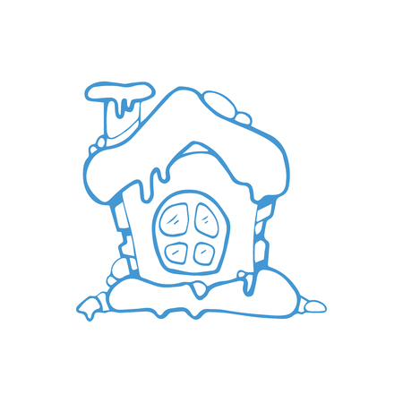 vector hand drawn christmas or winter house with snow roof. fantastic lodge with one door. Blue Picture isolate on white background