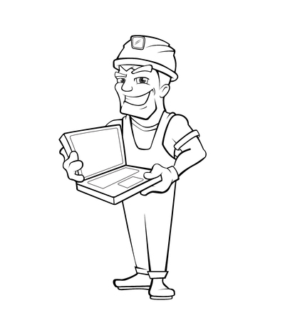 draftsman: Chef construction engineer man. Builder with laptop, helmet. Isolated on white background. Linear style. People character. Illustration