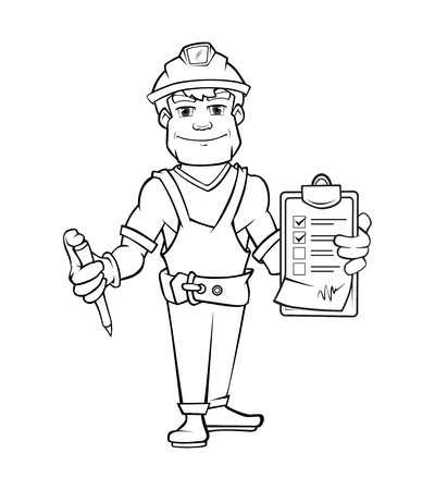 builder in helmet standing and holding order paper and pen in his hands. Linear style illustration Illustration