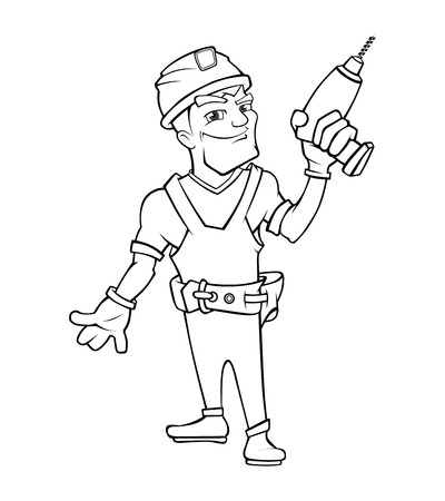 Builder man with smile face and with helmet holding drill in hand. illustration in linear style isolate on white background Illustration