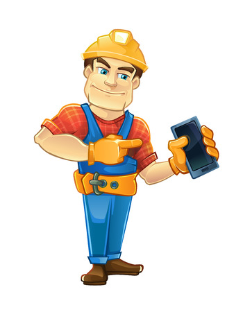 Handyman, builder in helmet pointing to the smartphone. illustrtation isolate on white background. 向量圖像
