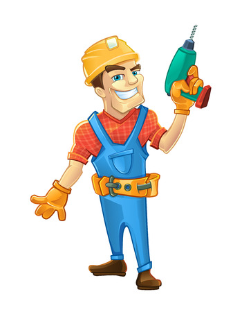 Builder man with smile face and with helmet holding drill in hand. Vector illustration in linear style isolate on white background