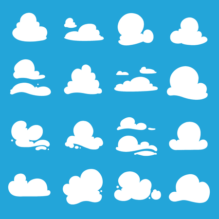 communication cartoon: Various clouds shapes in blue backdrop