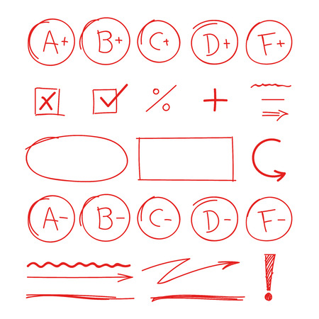grade school results. marker red notes good success examination sign and symbols plus minus quality vector icons set