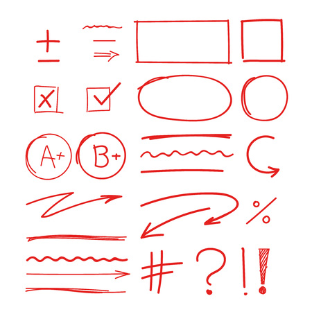 grade school results. hand drawn marker red notes good success examination sign and symbols plus minus quality vector icons set