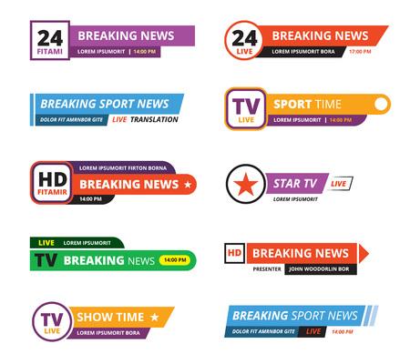 banners de noticias de última hora. televisión interfaz bar tv gráfico deporte reporteros nombres vector gui plantilla aislado