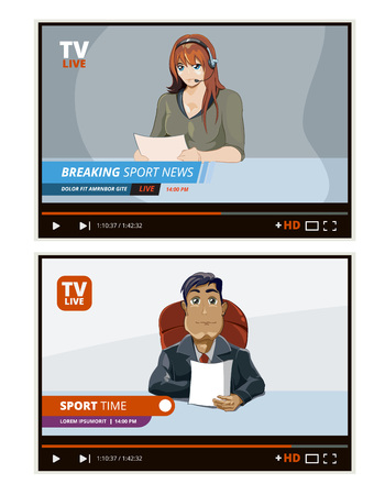 tv news anchors. broadcasting television financial daily sport male and female reporter talking vector interface GUI Illustration