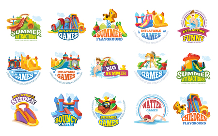 playground labels. aqua water park summer entertainments Standard-Bild - 107392279