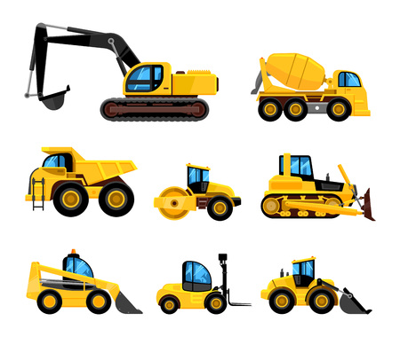 Construct machines. Heavy machinery vehicles large buldozer bauean roller excavator concrete mixer and loader vector transport Illustration
