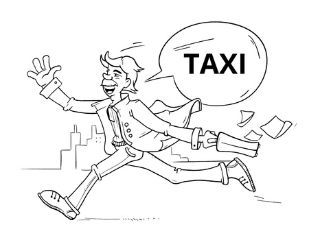 businessman hitchhiking taxi. Man running and trying stop uber car in urban landscape hand drawn vector cartoon character isolated Illustration
