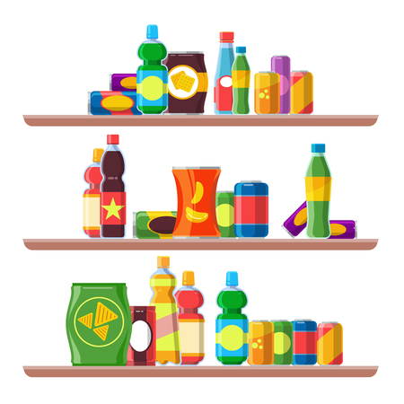 Food shelves. Grocery store food aisle consumer shop convenience shelf set soda snack assortiment cracker packaging selling buy merchandise vector cartoon background.