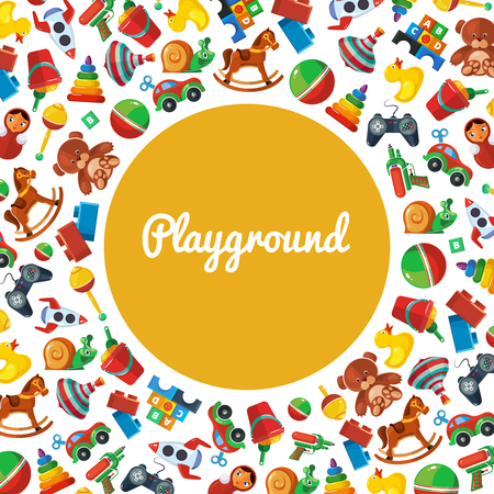 Toys playground. Teddy bear tipper pyramid tumbler snail machine bucket whirligig pattern template for kids playground vector