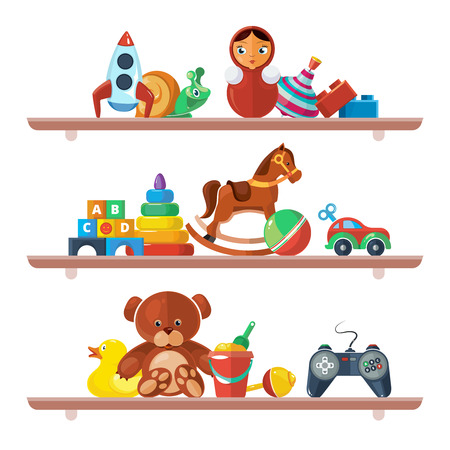 toys on shelves. merchandise for kids teddy bear tipper pyramid tumbler snail machine bucket whirligig games for children Ilustração
