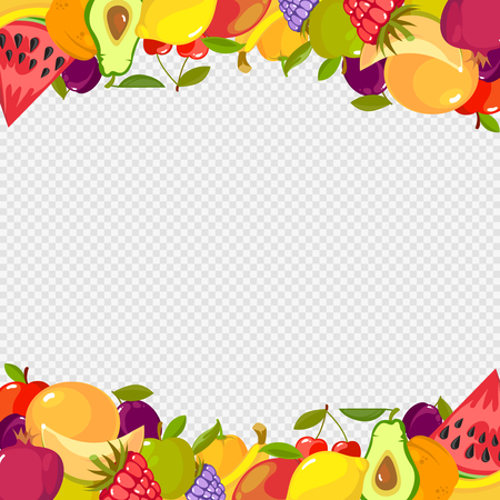 Fruits frame. Healthy vitamin food watermelon cherry lemon raspberry apple transparent background Vettoriali