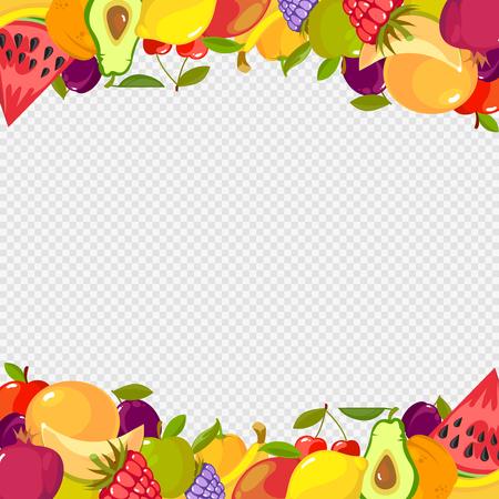 Fruits frame. Healthy vitamin food watermelon cherry lemon raspberry apple transparent background Illustration