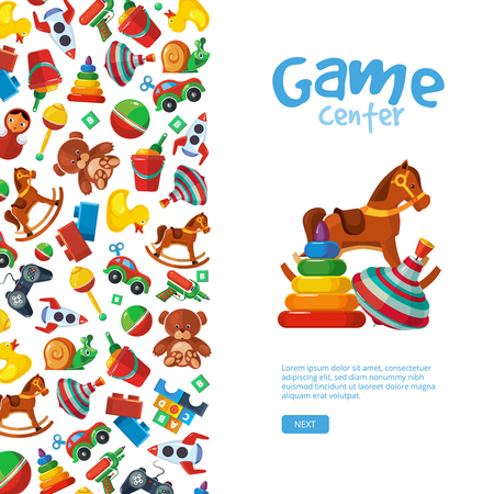 Toys background. Teddy bear tipper pyramid tumbler snail machine bucket whirligig education placard template for kids playground vector toys collection Ilustração