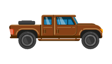 Brown pick-up truck. Vehicle pickup car family transportaton offroad wheel speed