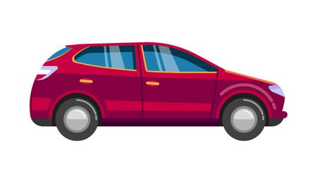 Red wageningen car. Sedan family sport automobile transport comfort speed road Ilustração