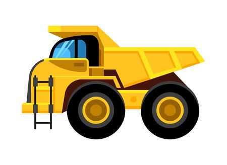 work yellow truck. big wheels construction vehicle dumper vector cartoon car isolated