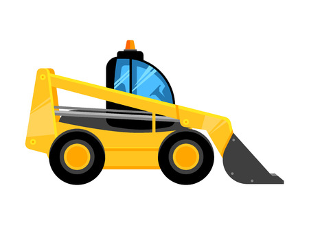 front end yellow loader. Construct machines digger for work vehicles vector car isolated on white