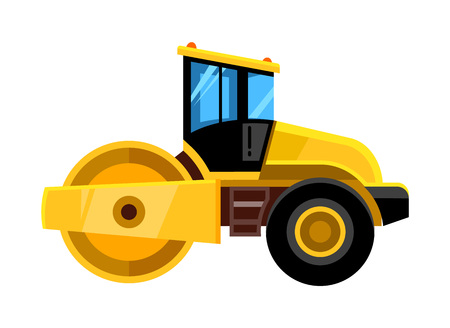 road roller. yellow construction asphalt roller truck transportation for builders vector vehicle Imagens