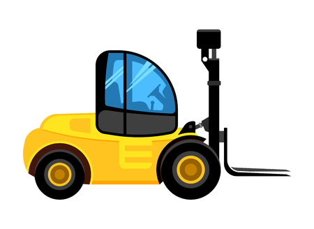 cargo loader. construct yellow car for building company unloading and loading dangerous pallet vector vehicle